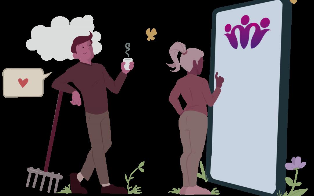To animerte figurer som står foran en gigantisk telefon. Bildet illustrerer at det er enkelt å drive velforening med SmartOrg