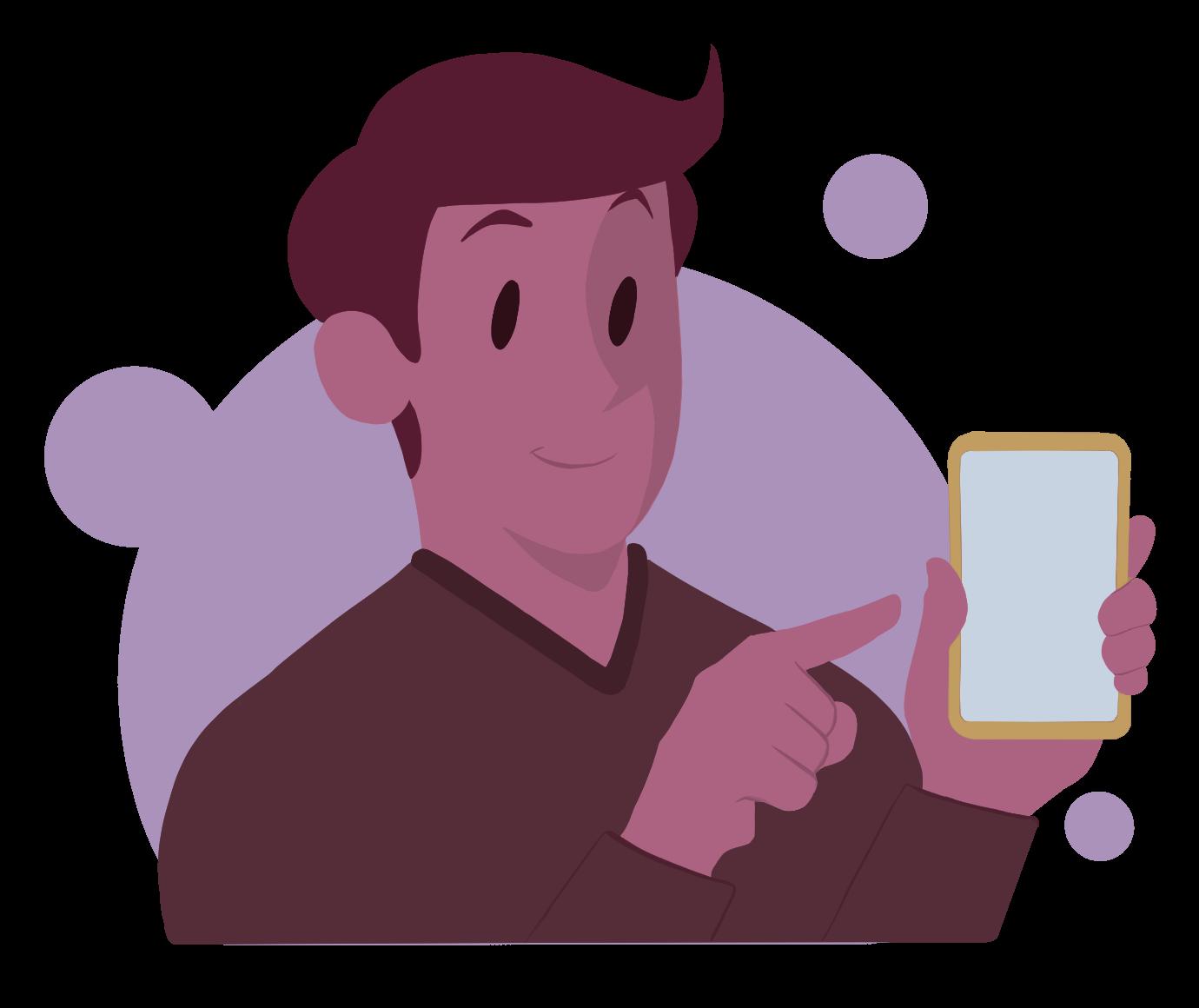 Animasjonsfigur som holder en telefon og viser at han administrerer sameiet og velforeningen via telefonen.